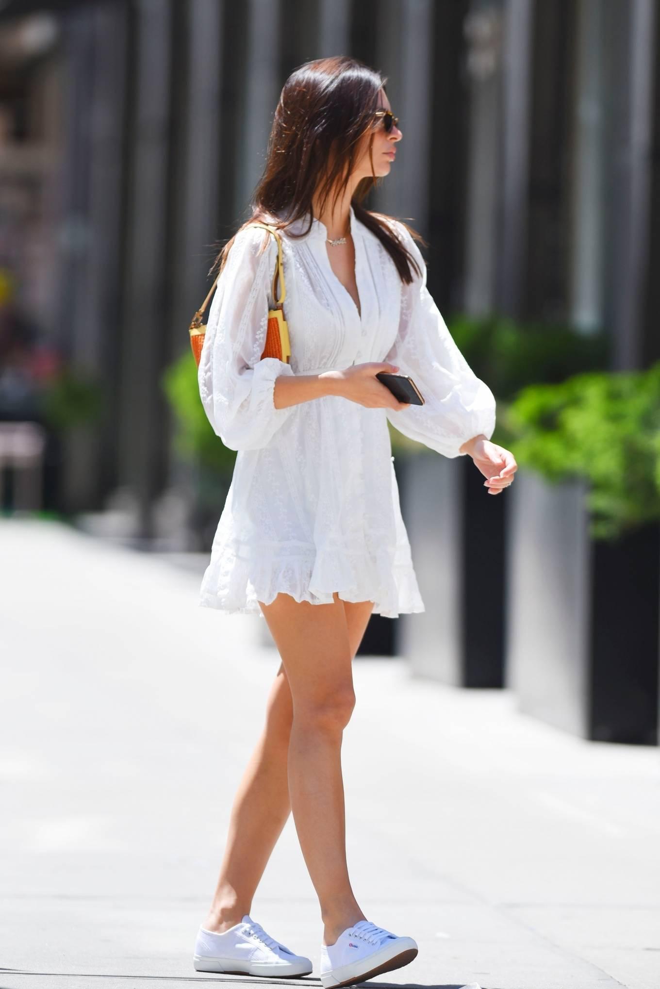 Emily Ratajkowski 2021 : Emily Ratajkowski – In a white mini dress out in New York-05