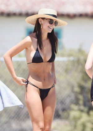 Emily Ratajkowski in Black Bikini at the beach in Los Angeles