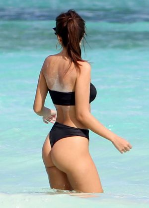 Emily Ratajkowski in Black Bikini in Cancun