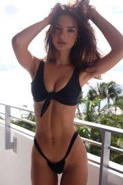 Emily Ratajkowski in Black Bikini - Instagram