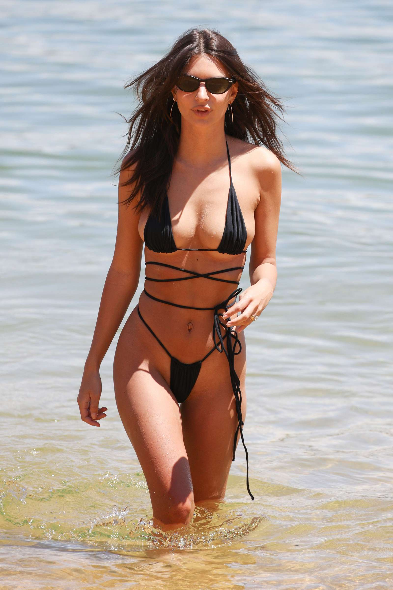 Emily Ratajkowski in Black Bikini on the beach in Gold Coast