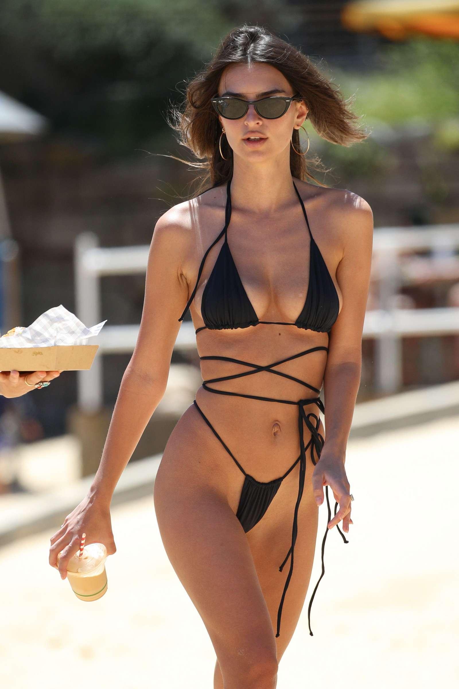 Emily Ratajkowski Black Bikini