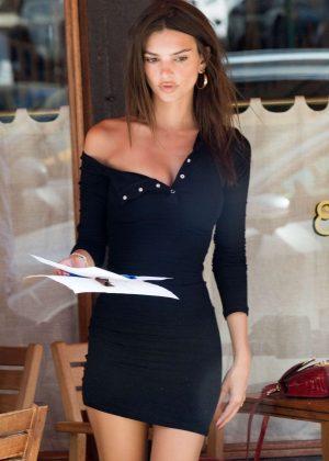 Emily Ratajkowski in Black Mini Dress - Out in New York