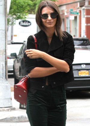Emily Ratajkowski in Black Outfit out in NY
