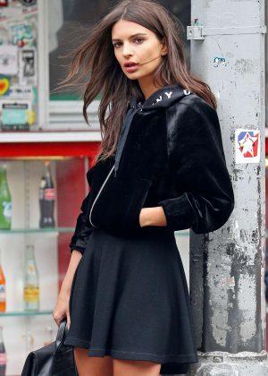 Emily Ratajkowski in Black Skirt at Photoshoot for DKNY in New York
