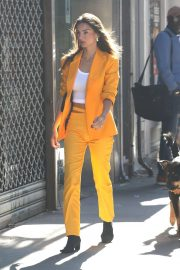 Emily Ratajkowski in Bold Orange Suit - Out in Manhattan