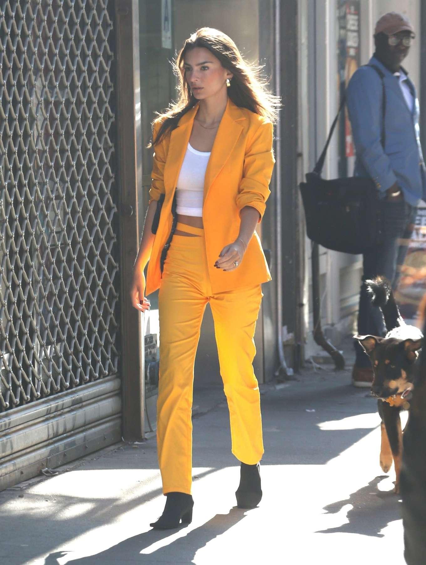 Emily Ratajkowski in Bold Orange Suit - Out in Manhattan