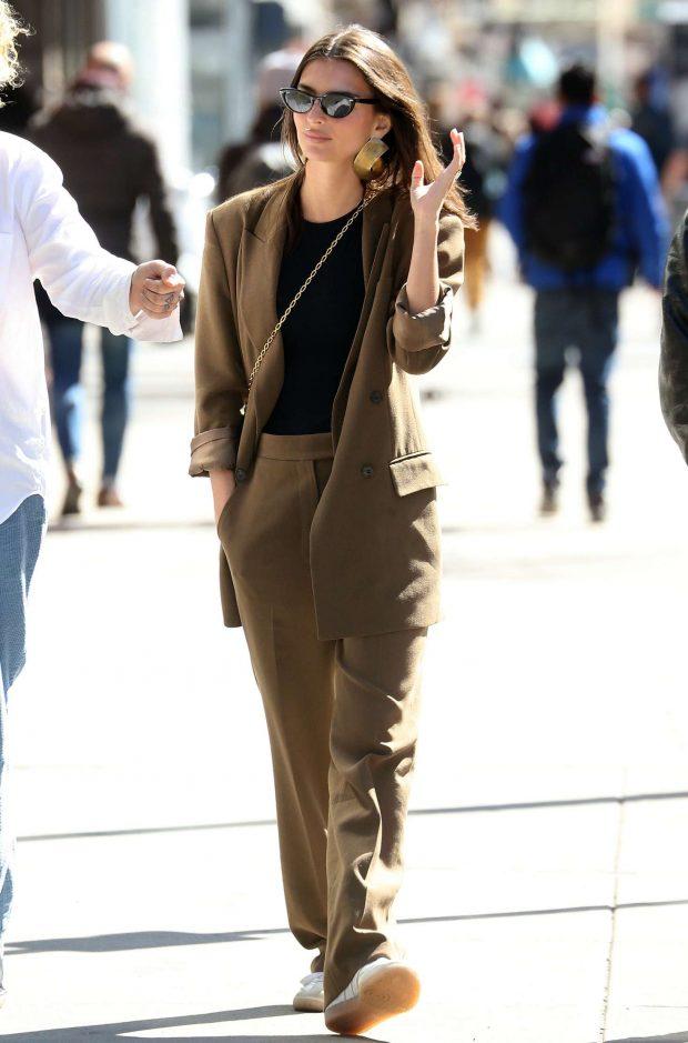 Emily Ratajkowski in Brown Suit -01