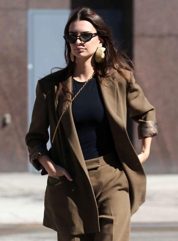 Emily Ratajkowski in Brown Suit -02