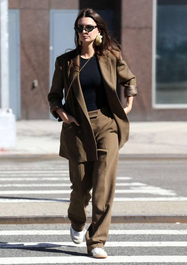 Emily Ratajkowski in Brown Suit - Out and about in New York