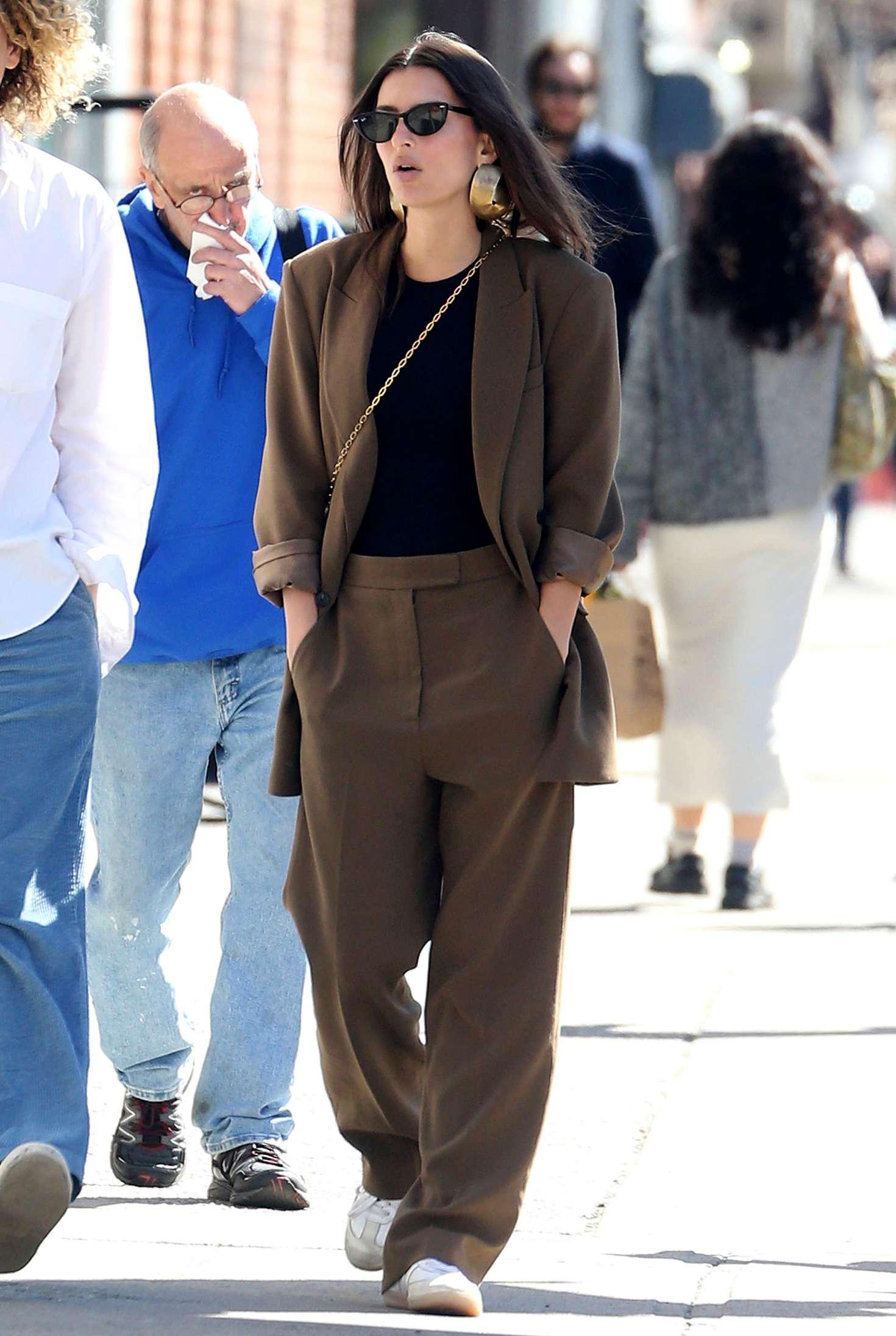 Emily Ratajkowski 2019 : Emily Ratajkowski in Brown Suit -13