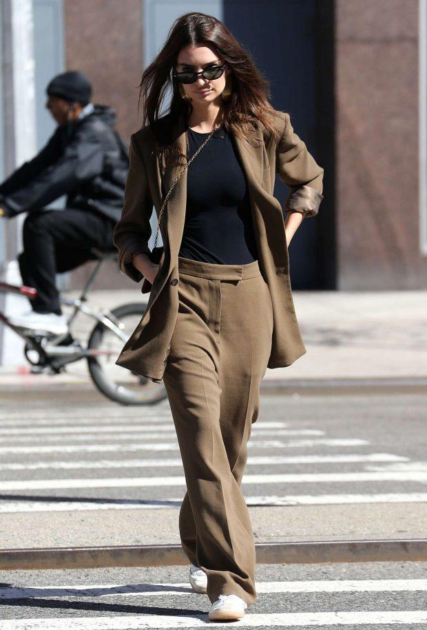 Emily Ratajkowski in Brown Suit -18