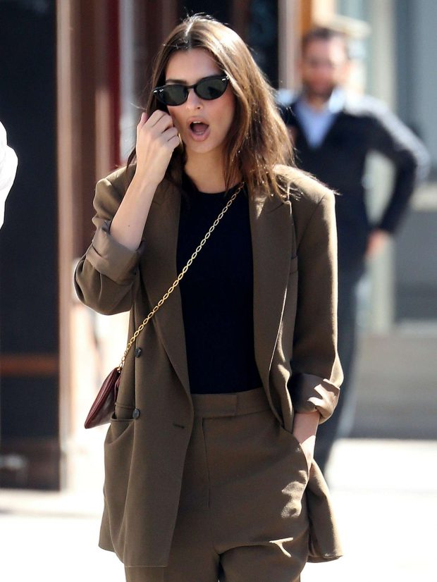 Emily Ratajkowski in Brown Suit -23