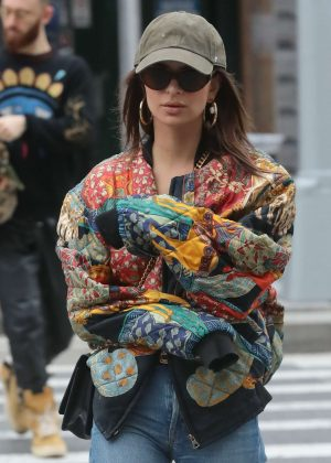 Emily Ratajkowski in Colorful Jacket - Out in New York