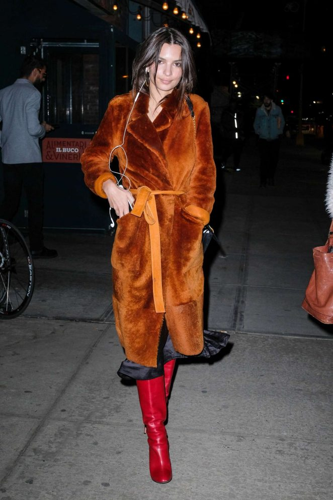 Emily Ratajkowski in Fur Coat out in NYC