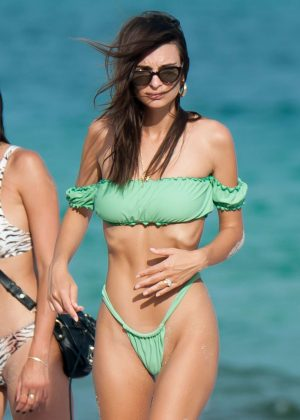 Emily Ratajkowski in Green Bikini at the beach in Miami