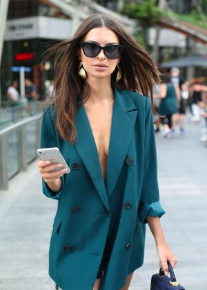 Emily Ratajkowski in Green Blazer - Out in Milan