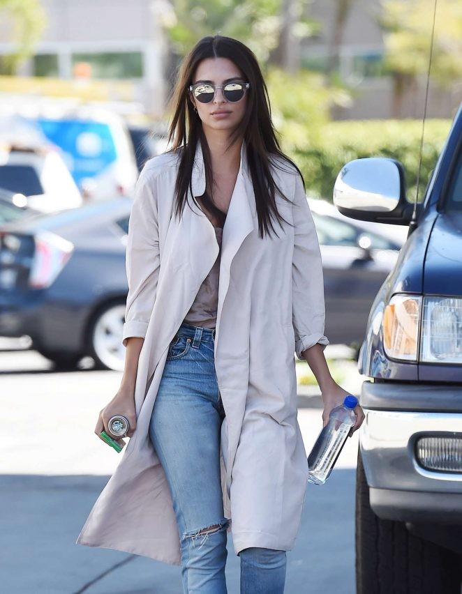 Emily Ratajkowski in Jeans and Coat out in LA