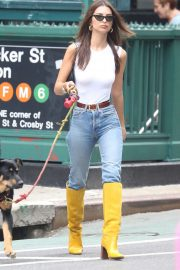 Emily Ratajkowski in Jeans and Yellow Boots - Walking her dog in NYC