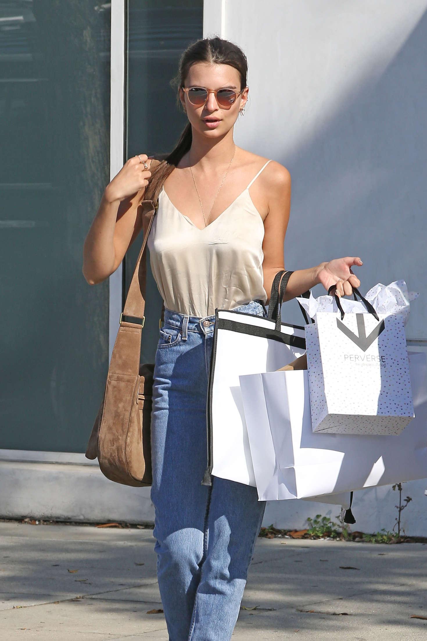 Emily Ratajkowski in Jeans Shopping in Beverly Hills