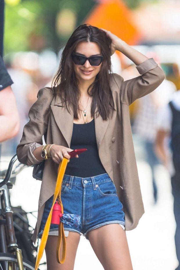 Emily Ratajkowski in Jeans Shorts - Walking her dog in NYC