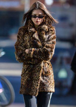 Emily Ratajkowski in Leopard Fur Coat - Out in NYC