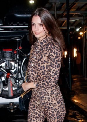 Emily Ratajkowski in Leopard Print Outfit - Night out in NY