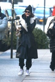Emily Ratajkowski in Long Coat - Out in NYC