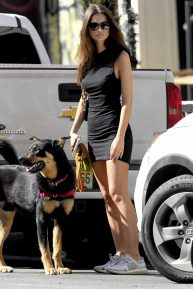 Emily Ratajkowski in Mini Black Dress - Walking her dog in NYC