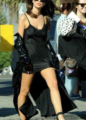 Emily Ratajkowski in Mini Dress Filming in Los Angeles