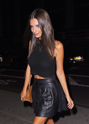 Emily Ratajkowski in Mini Skirt out in NYC