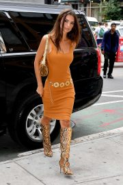 Emily Ratajkowski in Orange Dress - Out in NYC