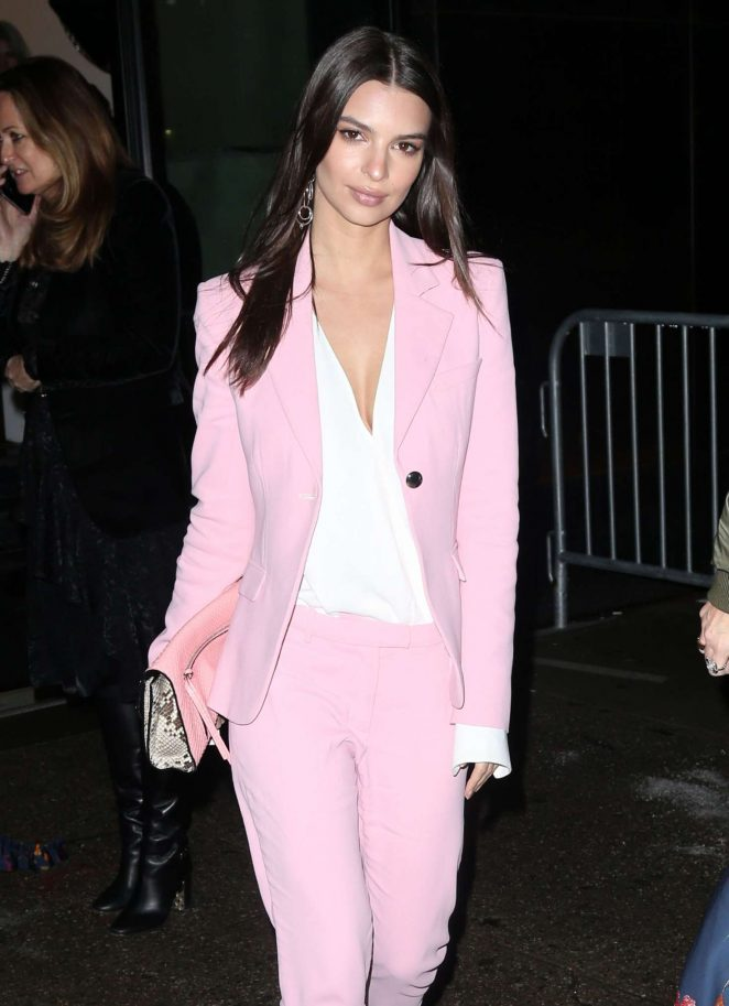 Emily Ratajkowski in Pink Suit out in New York City