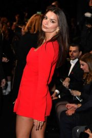 Emily Ratajkowski - In red at Versace Fashion Show in Milan February