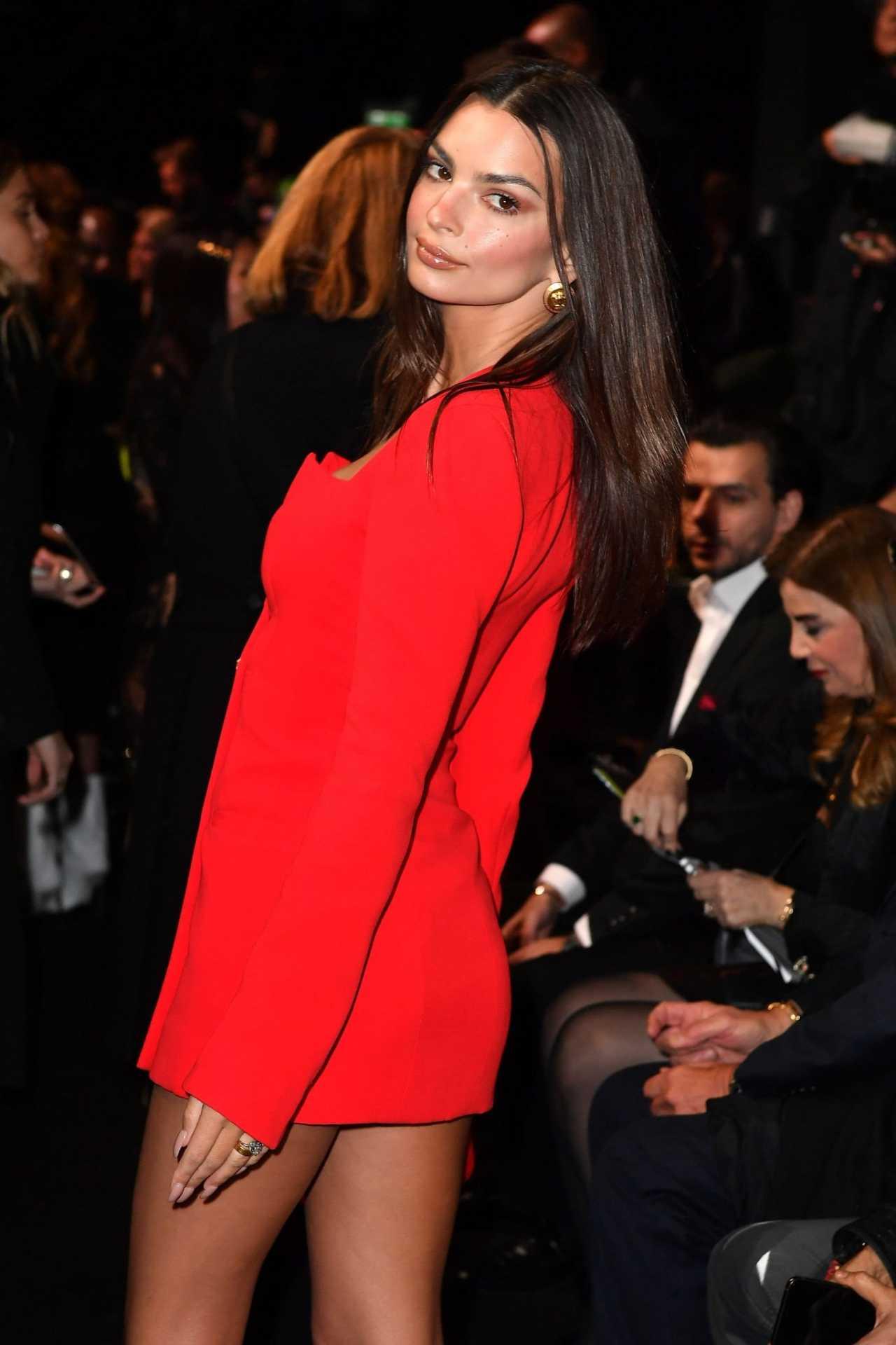 Emily Ratajkowski 2020 : Emily Ratajkowski – In red at Versace Fashion Show in Milan February-08