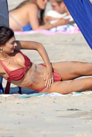 Emily Ratajkowski - In red bikini hits The Beach in The Hamptons