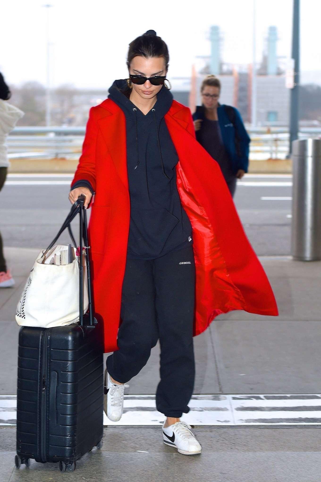 Emily Ratajkowski 2020 : Emily Ratajkowski in red coat ready for flight at JFK airport-12