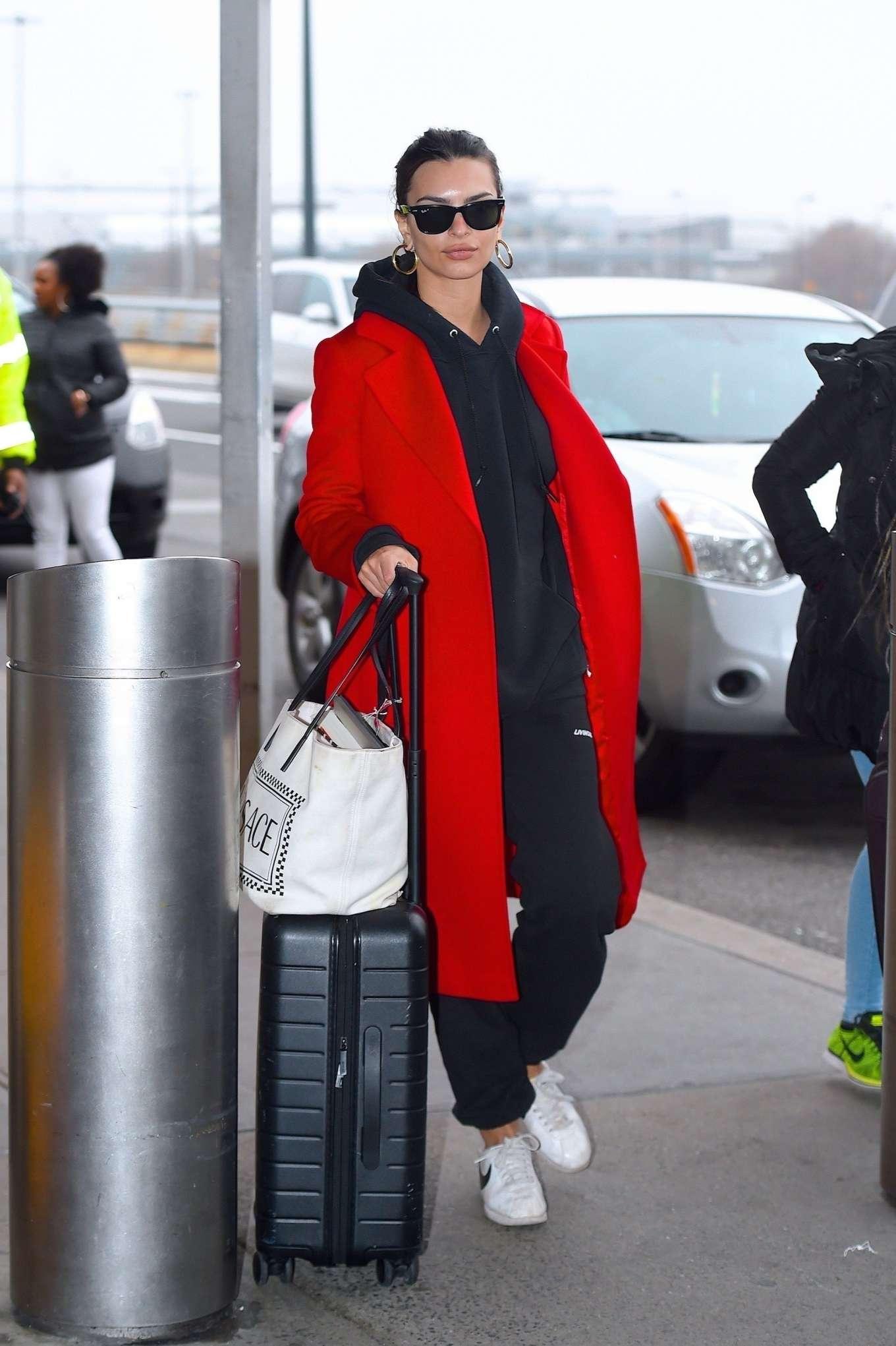Emily Ratajkowski 2020 : Emily Ratajkowski in red coat ready for flight at JFK airport-15