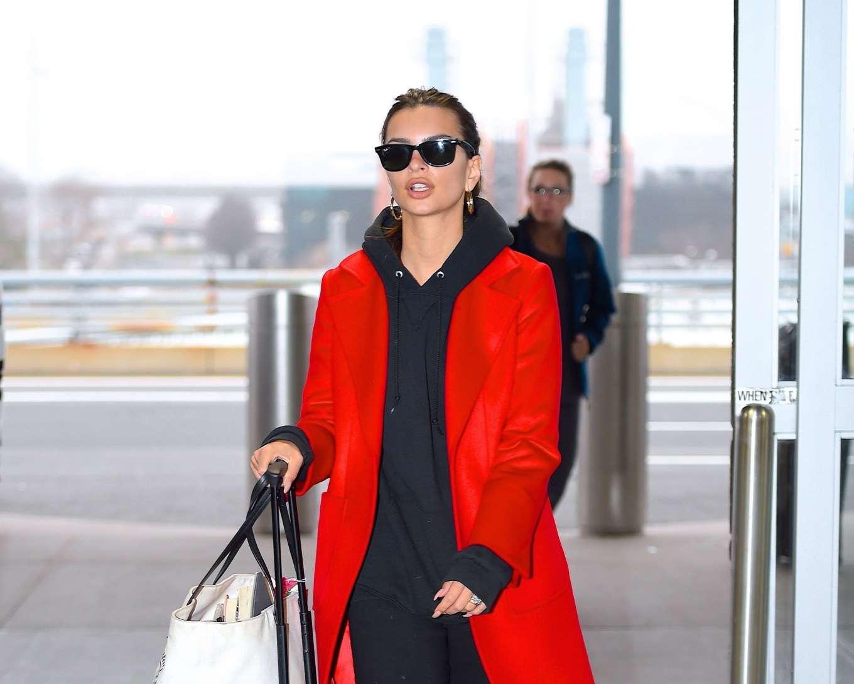 Emily Ratajkowski 2020 : Emily Ratajkowski in red coat ready for flight at JFK airport-16