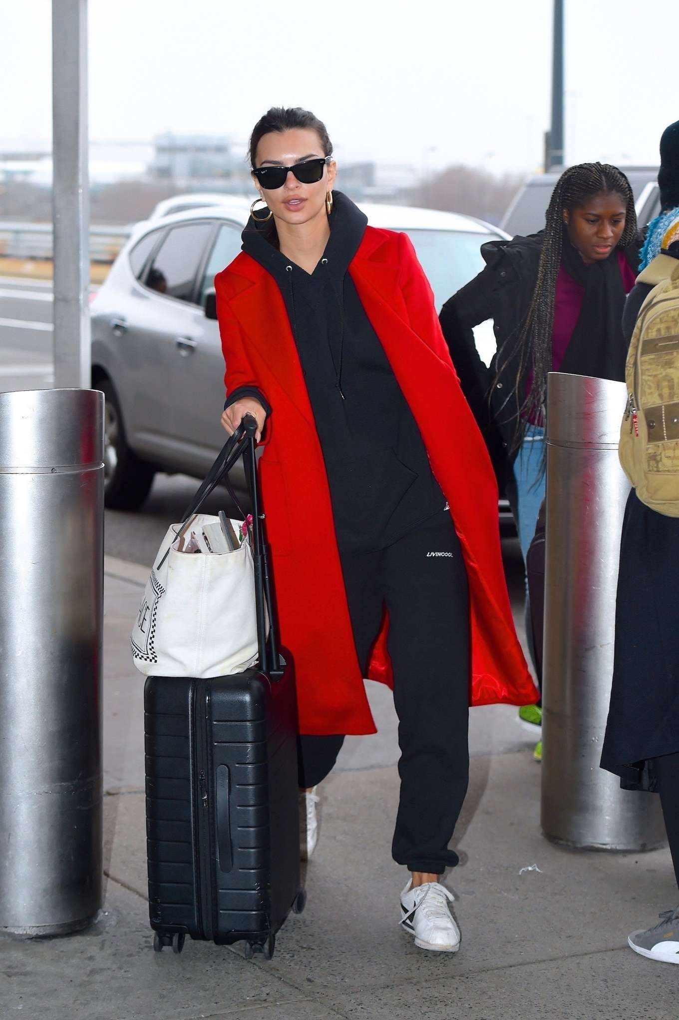 Emily Ratajkowski 2020 : Emily Ratajkowski in red coat ready for flight at JFK airport-17