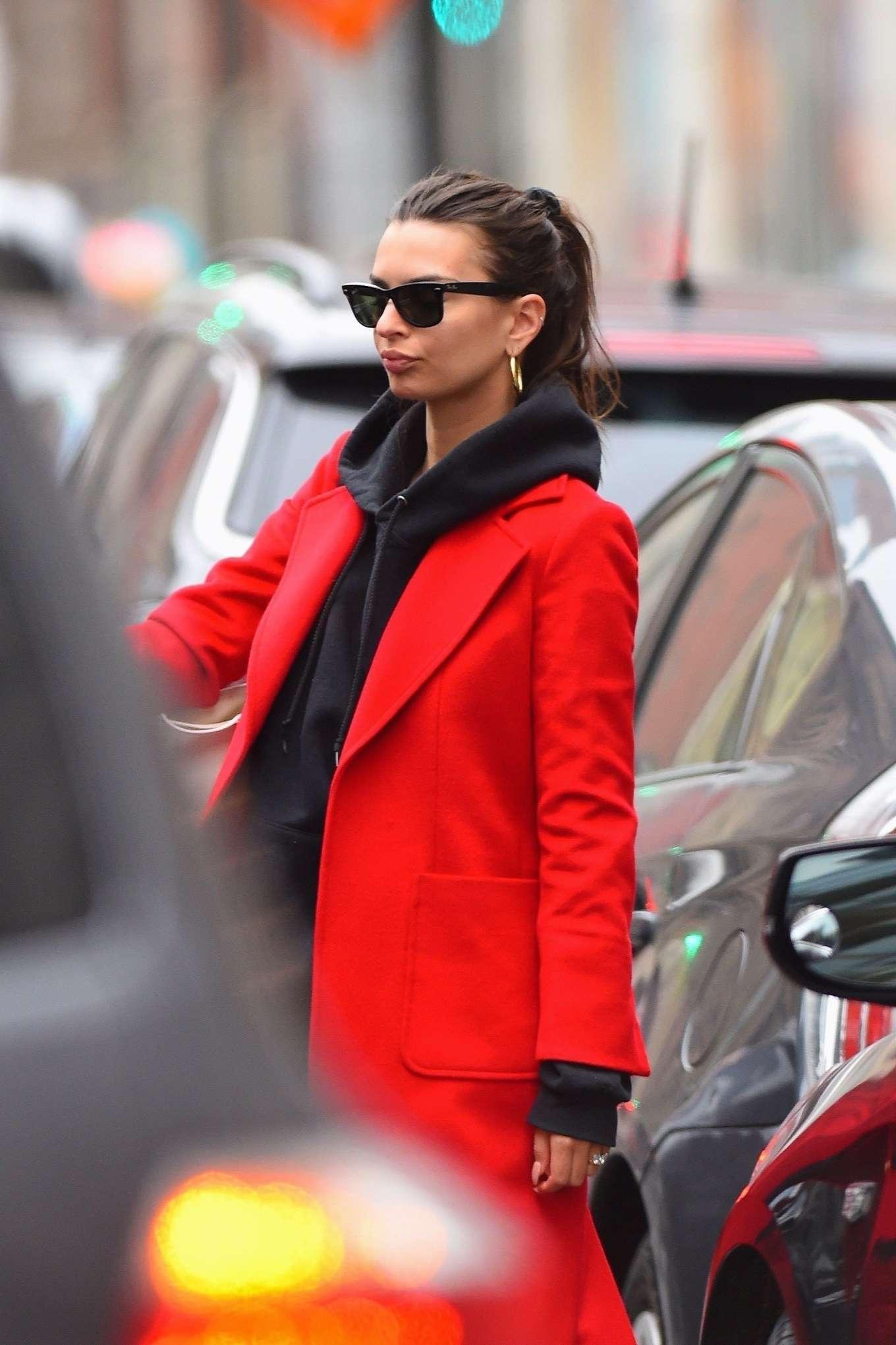 Emily Ratajkowski 2020 : Emily Ratajkowski in red coat ready for flight at JFK airport-18