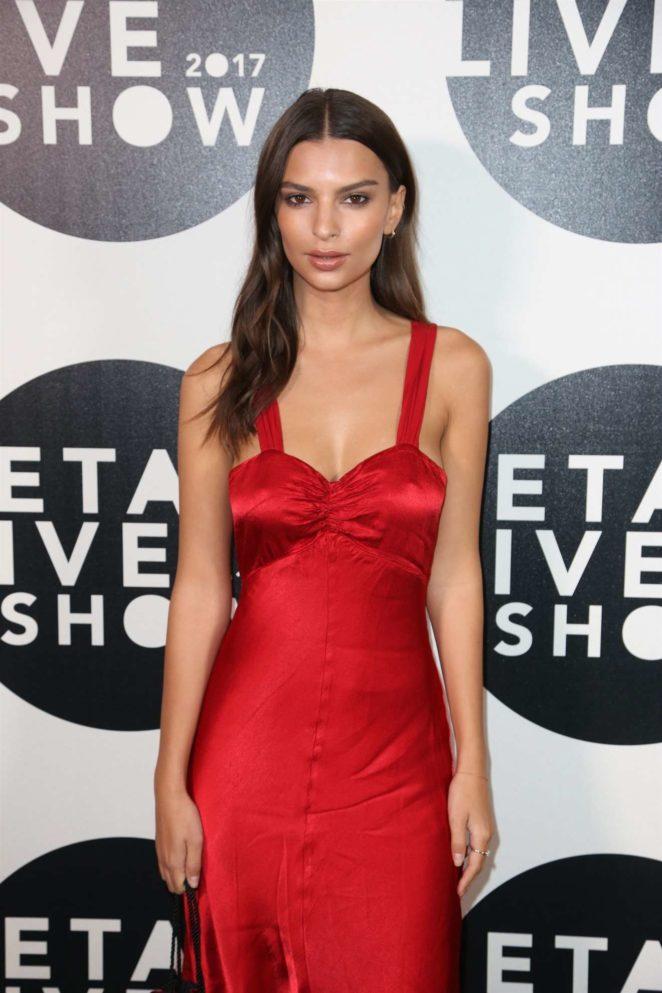 Emily Ratajkowski - In Red Dress at Etam Live Fashion Show in Paris