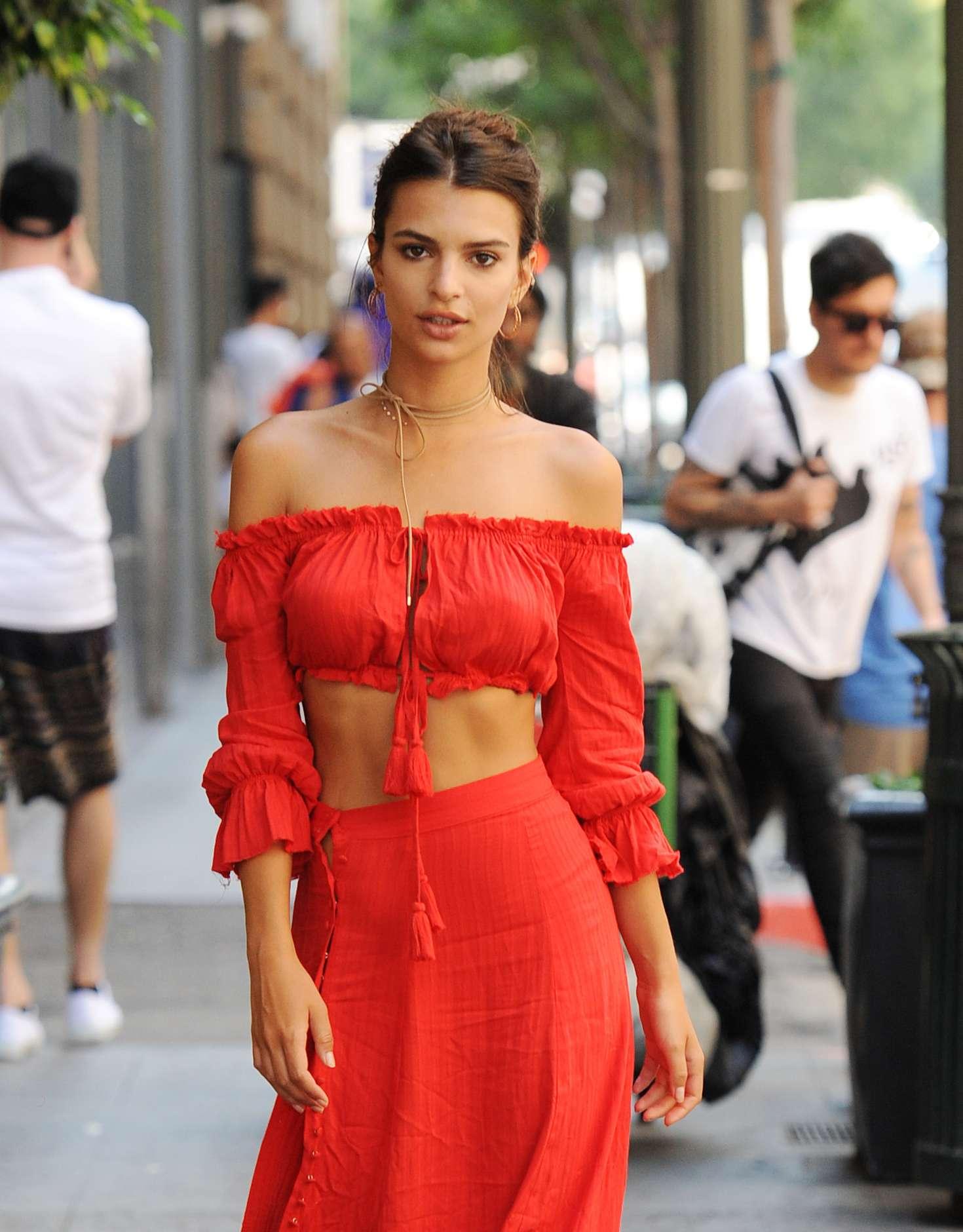 Emily Ratajkowski In Red Dress 12 Gotceleb