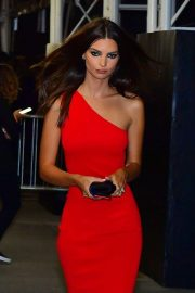 Emily Ratajkowski - In red dress seen outside Harper's Bazaar ICONS party Spring Summer 2020 in NY