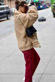 Emily Ratajkowski in Red Pants - Out in New York
