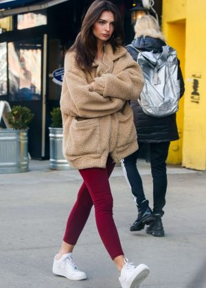 Emily Ratajkowski in Red Tights - Out in NYC