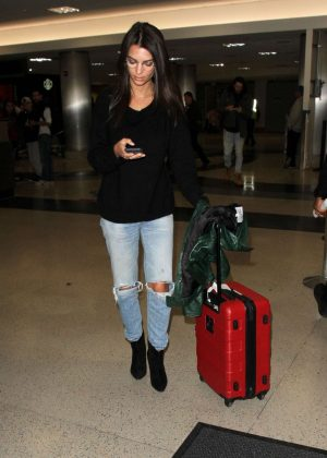 Emily Ratajkowski in Ripped Jeans at LAX Airport in LA