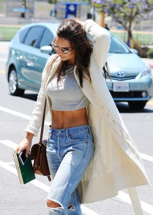 Emily Ratajkowski in Ripped Jeans out in Santa Monica