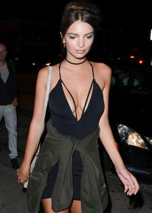 Emily Ratajkowski in Short Dress at Craig's in West Hollywood