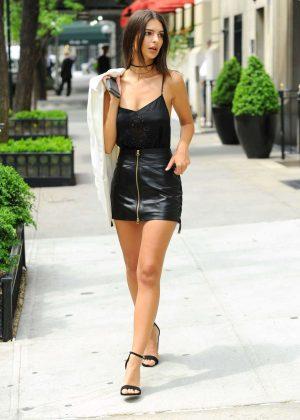 Emily Ratajkowski in Short Leather Skirt -09